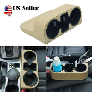 Beige Universal Mount Drink Bottle Organizer Car Vehicle Auto Cup Holder Stand