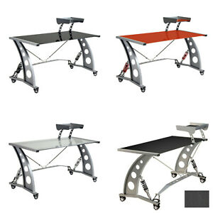 Pitstop Furniture Gt Spoiler Glass Automotive Gaming Car Office Desk Workstation