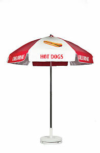 Frankford Hot Dog Cart Umbrella Red white