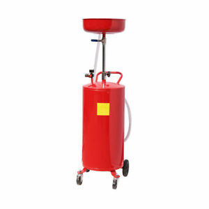20 Gallon Waste Oil Drain Capacity Tank Air Operate Drainer Hose Wheel New Red