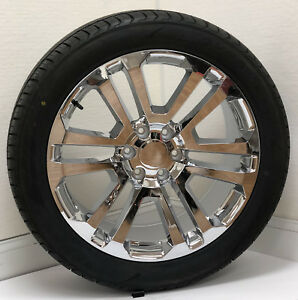 Chevy Chrome Split Spoke 22 Wheels Tires For 2000 18 Tahoe Silverado Suburban
