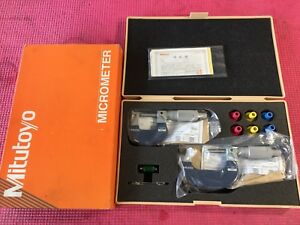 new Mitutoyo Outside Micrometer Set 0001 Graduation Model 102 908s m327 2st