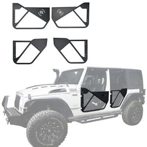 4x Front Rear Steel Textured Black Tube Doors For 2007 2018 Jeep Wrangler Jk