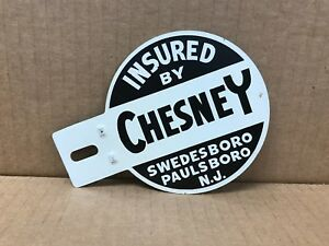 Vintage Original 1950 S Chesney N J License Plate Topper 5 25 X 4