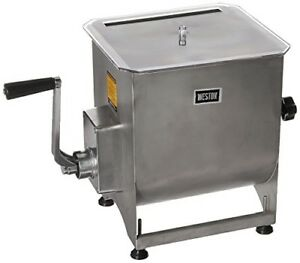 Weston Stainless Steel 44 pound Capacity Meat Mixer W Removable Mixing Paddles