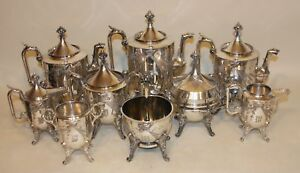 Reed Barton 2576 Silverplate Bird Coffee Tea Creamer Sugar Spooner Bell Butter