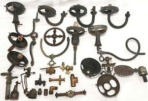 Antique Victorian Gas Light Fixtures Brass Parts Burners Keys Swing Arms Sconce