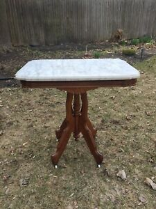 Antique 1880s Oak Eastlake Marble Parlor Table