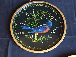 Antique Vintage Hand Painted Tole Tray With Bluebird C 1973