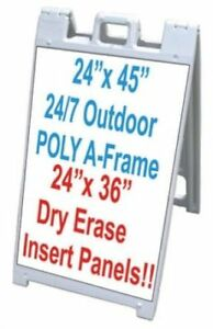 45 X 25 Poly Plastic A frame Sidewalk Sign With 2 24 X 36 Dry Erase Panels