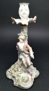 Antique Sitzendorf Dresden Germany Figural Porcelain Candle Holder 1884 1902
