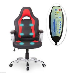 Race Car Style Pu Leather Heated Massaging Office Chair Black And Red J6a5