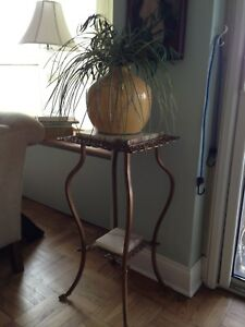 Vintage Brass And Marble Plant Stand