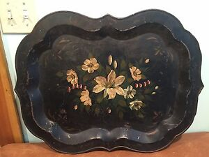Large 24 Antique Decorative Tole Painted Metal Tray With Flowers