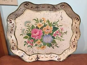 Antique Metal Tole Painted Serving Tray Off White With Flowers