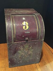 Antique Tole Painted General Store Flour Bin Canister