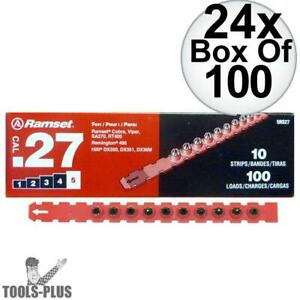 Ramset 5rs27 24x Box Of 100 5 red 27 Cal Strip Loads New