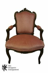 Antique Louis Xv French Baroque Carved Walnut Accent Chair Fauteuil Arm Rococo