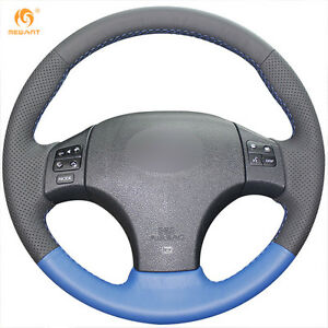 Black Blue Leather Steering Wheel Cover For Lexus Is250 Is300 F Sport lx18