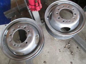Used Pair 1988 97 Ford Super Duty F450 Truck Dually 16x6 10 Lug Wheels Silver