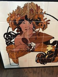 Art Deco Lady Hand Painted On Tile Panels