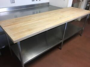 96 x 30 Bakery Butcher block Prep Table Great Condition Stainless Steel Bottom
