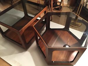 Pair Of Mid Century Lane Side Tables Smoke Glass Top Style 1121 36 121 05