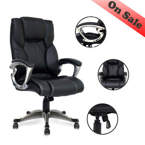 Luxury Office Chair Adjustable Executive Leather Ergonomic Comfortable Armchair