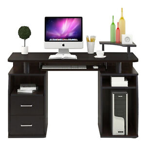Computer Desk Pc Table Monitor Amp Printer Shelf Office Home Furniture Black