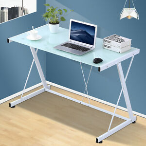 Pc Laptop Glass Table Computer Desk Workstation Office Home Furniture White