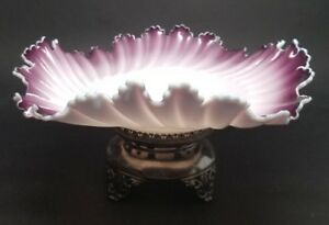 Victorian Antique Brides Bowl Basket Cased Purple White Glass Ruffled W Stand