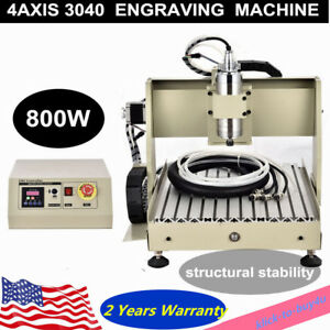 4 Axis 3040 Cutter Cnc Router 800w Engraver Wood Milling Drilling Machine mach3
