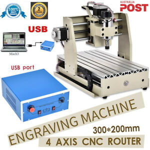 Usb 4axis 3020 Cnc Router Vfd Engraver Drilling Engraving Machine Wood Metal Us