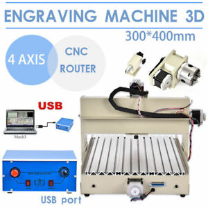 4 Axis Cnc 3040 Mill Router Usb Desktop Wood Engraver 3d Milling Machine 400w Us