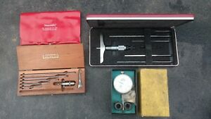 Lot Of Starrett Blade Depth Micrometer Gage Set 449 124 a And Telescoping Gage