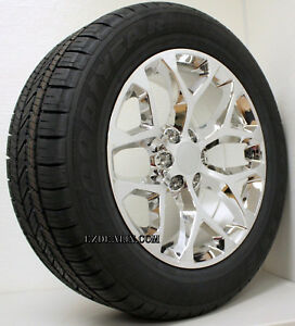 Chevy Silverado Suburban Tahoe 20 Snowflake Chrome Wheels Rims Goodyear Tires
