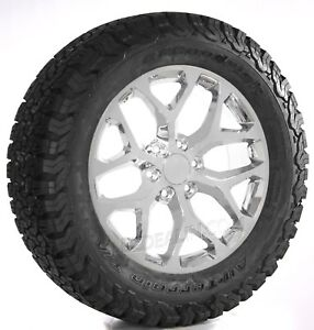 Chevy Silverado Suburban Tahoe Z71 20 Snowflake Chrome Wheels Rims Bfg Tires
