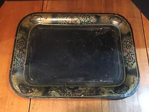 Antique Metal Tole Painted Serving Tray