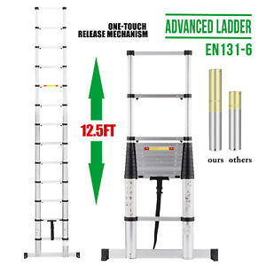 12 5ft Profession Telescoping Extension Ladder Aluminum Folding Multi Purpose