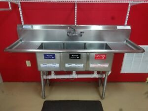 Commercial Triple Sink Stainless Steel 72 x22 3 Bowl Restaurant Sink