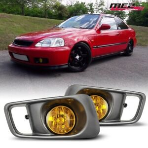 For 1999 2000 Honda Civic Oe Factory Fit Fog Light Bumper Wiring Kit Yellow Lens