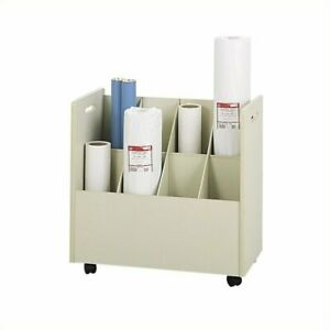 Scranton Co Wood Mobile Roll Files 8 Compartments In Putty