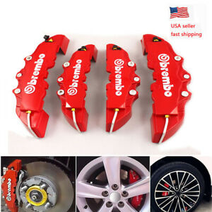 4pc Brembo Car Disc Brake Caliper Covers Front Rear Kit 3d Style Red Universal