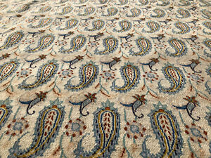 10x13 Ivory Persian Rug Hand Knotted Wool Iran Rugs Paisley Antique 9x12 10x14