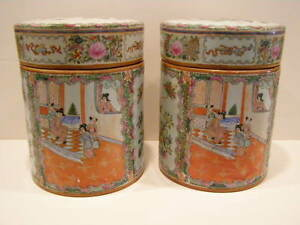 Antique Chinese Pair Of Rose Medallion Jars With Lids