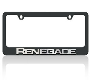 New Black Carbon Steel Jeep Renegade Mirror Word License Plate Frame