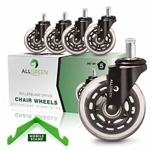 Rollerblade Office Chair Caster Wheels Replacement Set Of 5 Heavy Duty Easy New