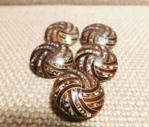 Lot Of 5 Antique Champleve Enamel 19th Century Buttons Brown Striped