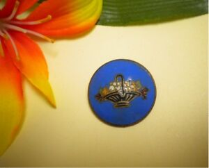 Antique Champleve Enameled Basket Of Flowers Metal Picture Button