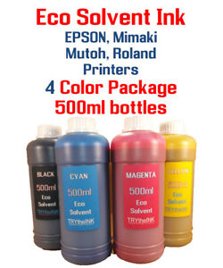 Eco Solvent Ink 4 Multi color 500ml Each Epson Roland Mimaki Mutoh Printers